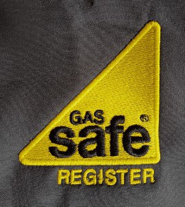 Embroidered Gas Safe logo - yellow logo grey t shirt