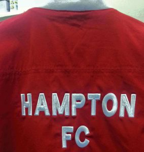Embroidered clothing red football top back