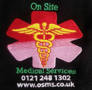 on site medical services workwear logo embroidery