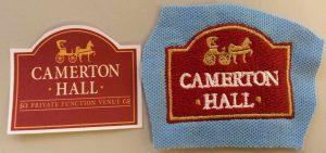 Camerton Hall embroidered logo sample