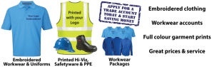 Embroidered Workwear, Corporate Uniforms & work clothes - Logo's embroidered or printed in full colour