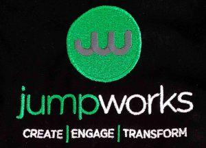 Jump Works workwear logo embroidery
