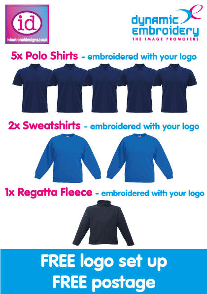 embroidered workwear bundle 5 embroidered polo shirts 2 embroidered sweatshirts, 1 personalised fleece