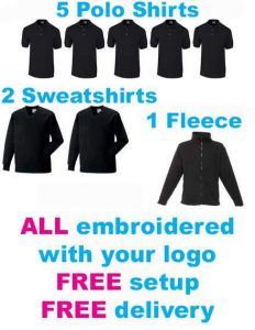 Cheap workwear bundles with logo personalised print or embroidery options