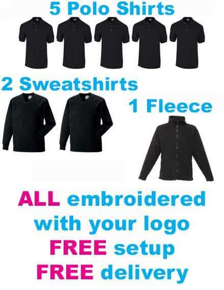 Embroidered Workwear Package bundle inc embroidered logo