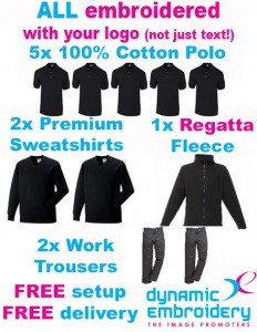 workwear bundles 5 embroidered polo shirts 2 embroidered sweatshirts, 1 personalised fleece, 2 work trousers