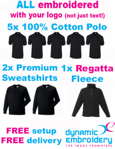 workwear bundles 5 embroidered polo shirts 2 embroidered sweatshirts, 1 personalised fleece